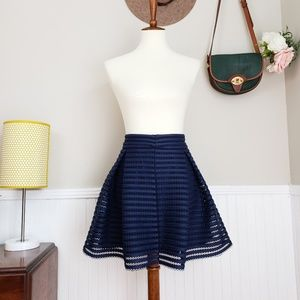 Express Striped Pleated Flare Navy Mini Skirt NWT